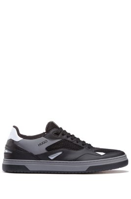 Skate-style trainers with hybrid uppers, Black