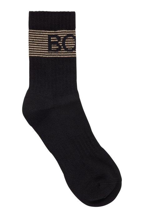 Quarter-length socks with metallic-striped logo, Black
