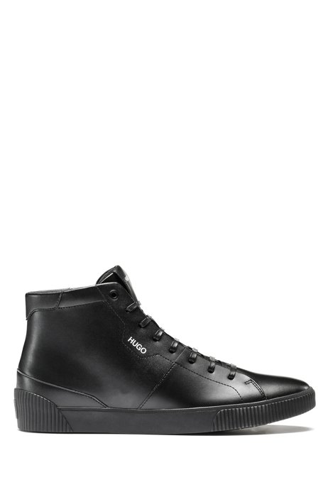 High-top trainers in leather with logo details, Black