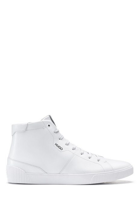High-top trainers in leather with logo details, White