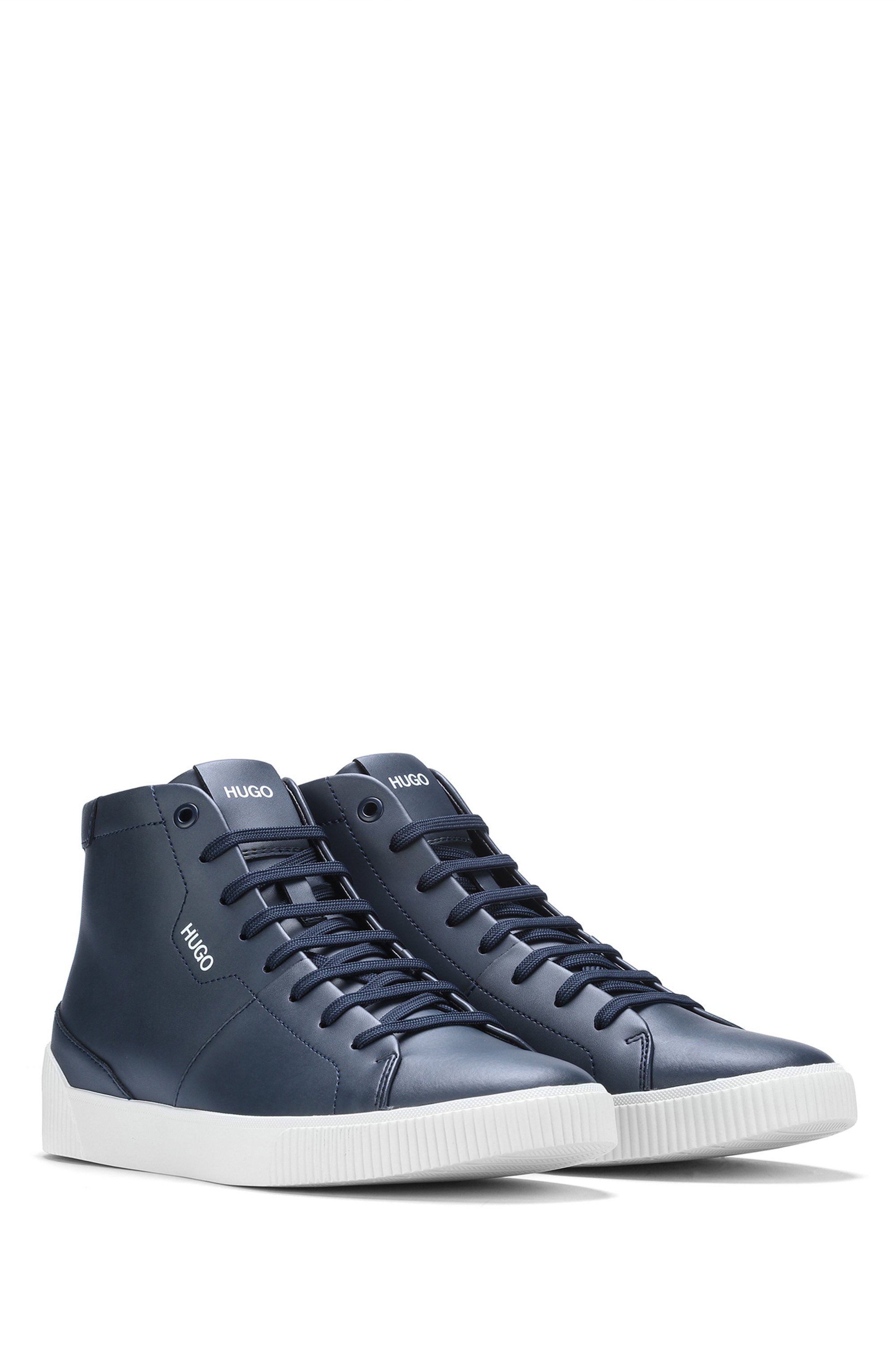 High-top trainers in leather with logo details