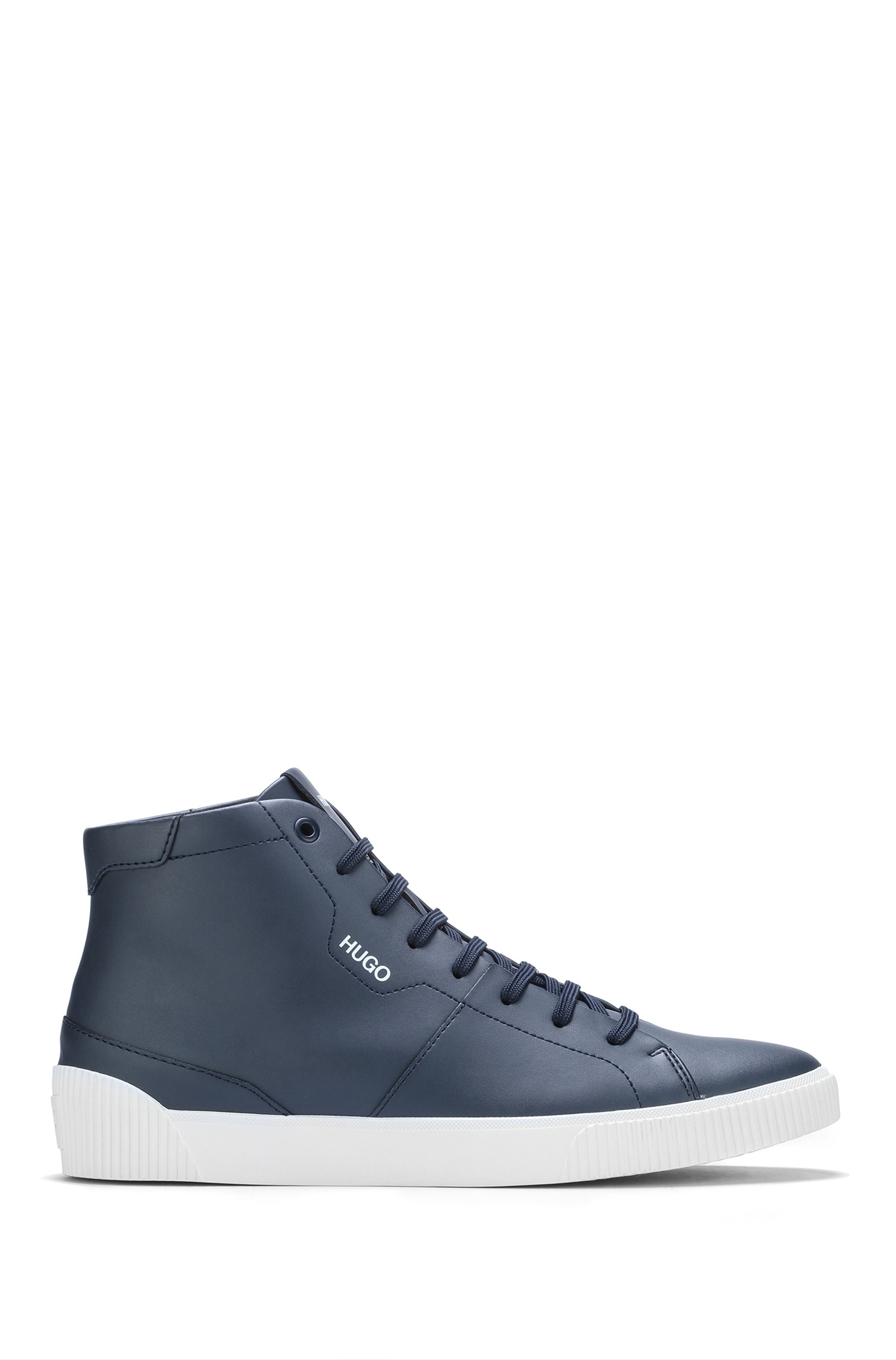High-top trainers in leather with logo details, Dark Blue