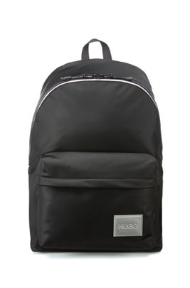 Nylon-twill backpack with reflective details, Black