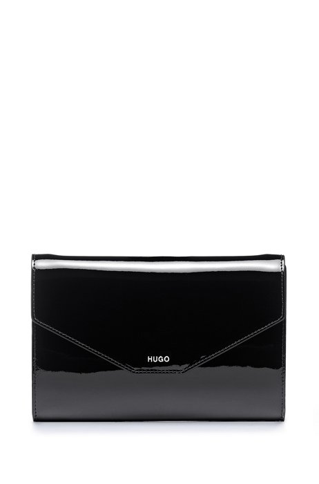 Patent-leather clutch bag with detachable chain strap, Black