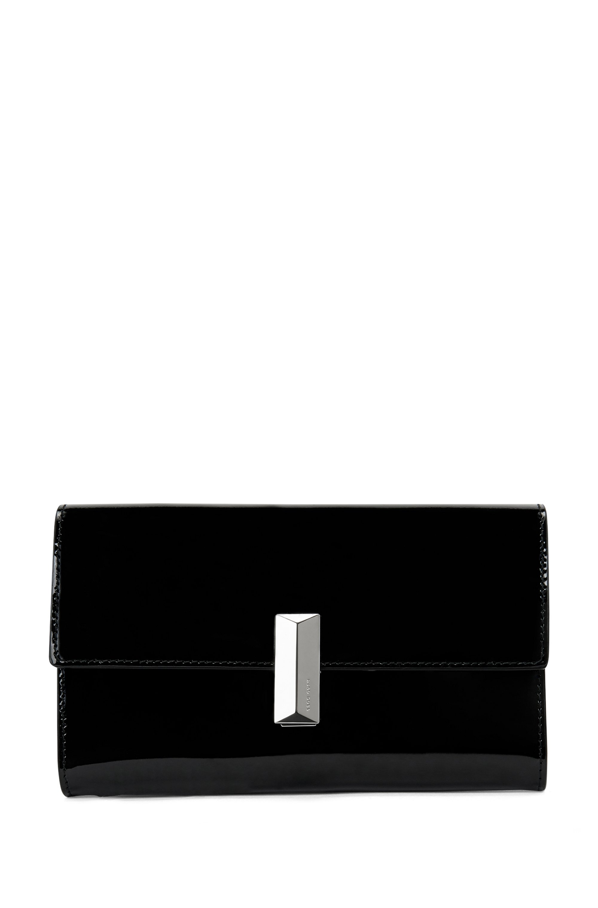 Patent-leather clutch bag with detachable wrist chain, Black