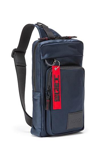 徽标钥匙环尼龙单肩带背包,  410_海军蓝色