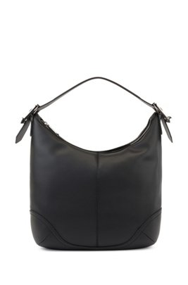 Hobo bag in Italian leather with signature buckles, Black