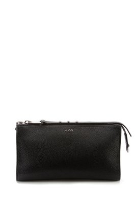 Grained-leather mini bag with studded zip puller, Black