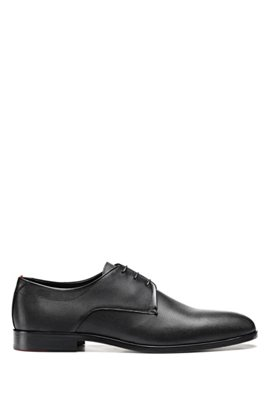 Derby shoes in printed leather with signature details, Black