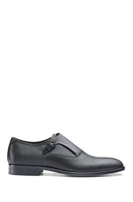 Monk shoes in printed leather with stitched details, Black