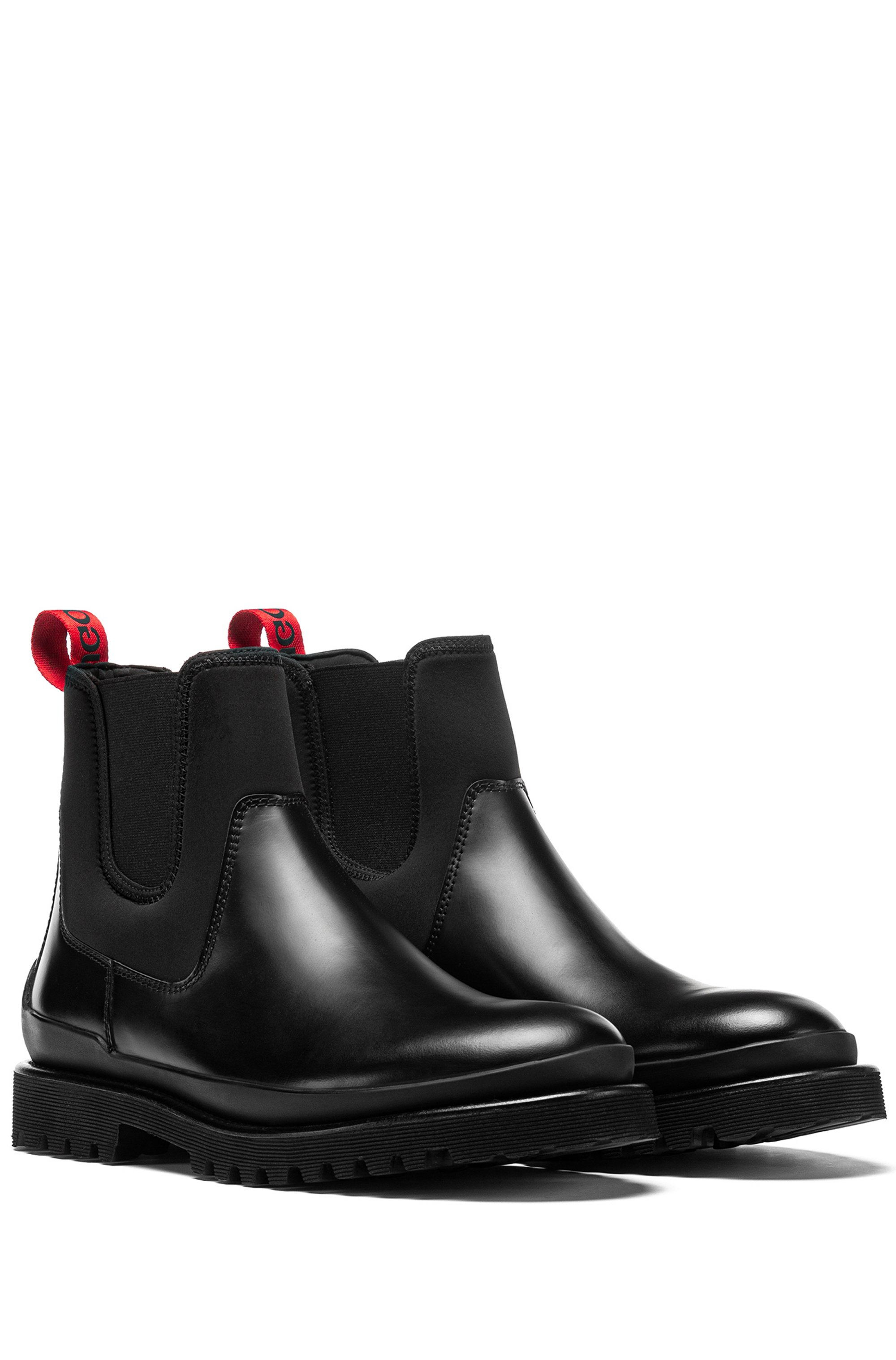 Chelsea boots in brush-off leather and stretch fabric