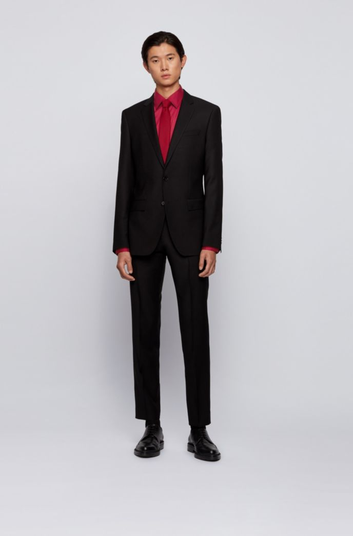 Slim-fit shirt in cotton-blend stretch poplin