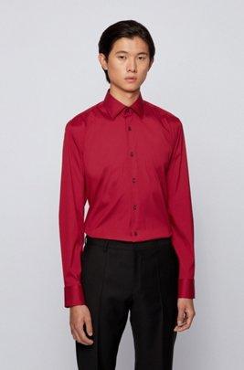 Slim-fit shirt in cotton-blend stretch poplin, Dark Red
