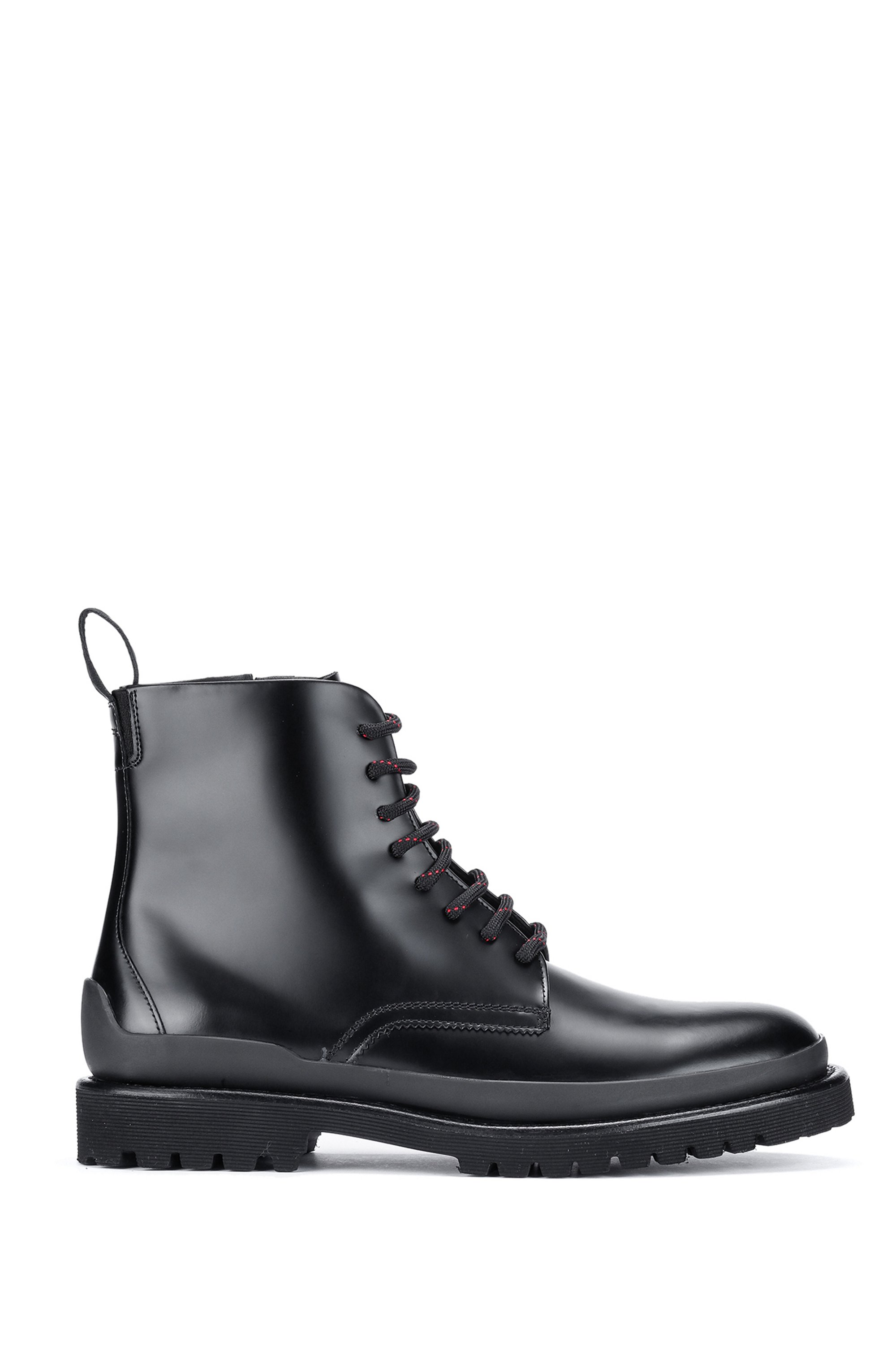 Hiking-inspired ankle boots in brush-off leather, Black