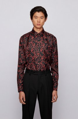 Slim-fit shirt in ox-head-print Italian silk, Red