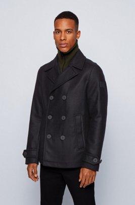 Slim-fit coat in an Italian wool blend, Black
