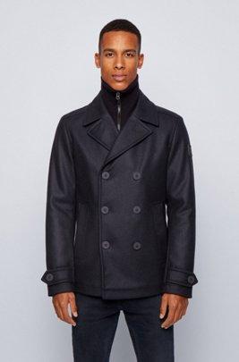 Slim-fit coat in an Italian wool blend, Dark Blue
