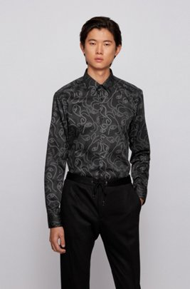Slim-fit shirt in ox-head-print cotton satin, Grey Patterned