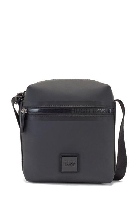 Matte-fabric reporter bag with logo-tape zip, Black