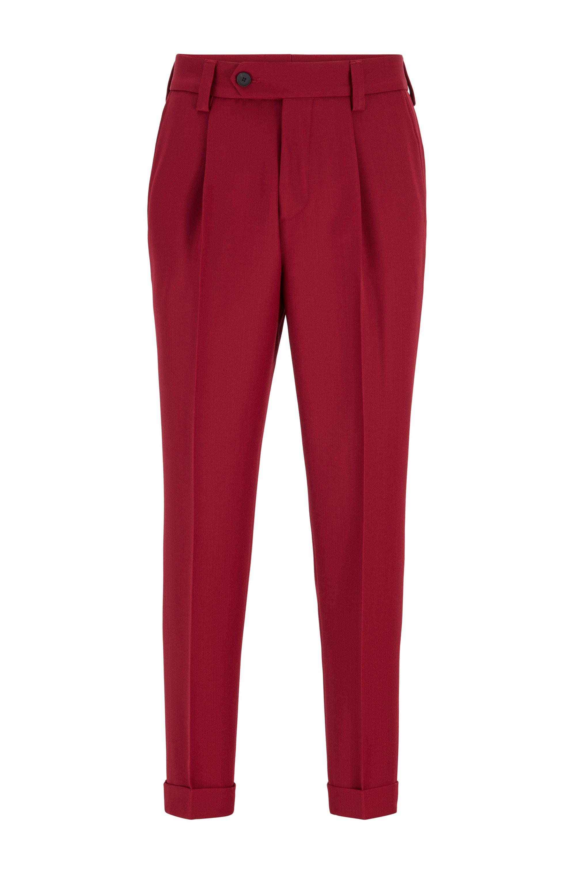 Oversized-fit broek met boorden en scheerwol, Donkerrood