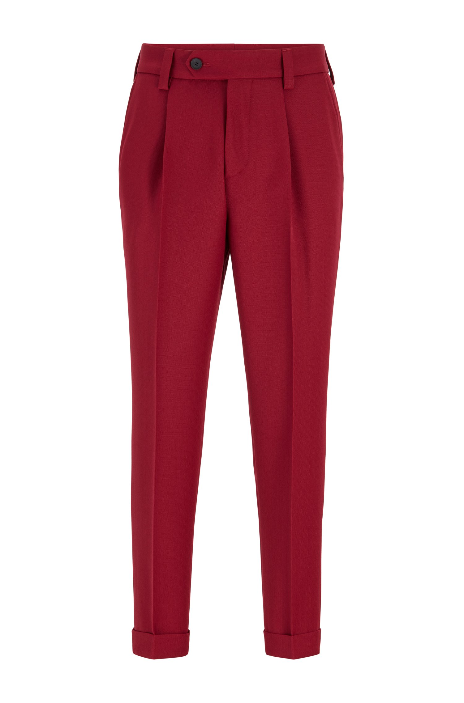Oversized-fit cuffed trousers with virgin wool, Dark Red