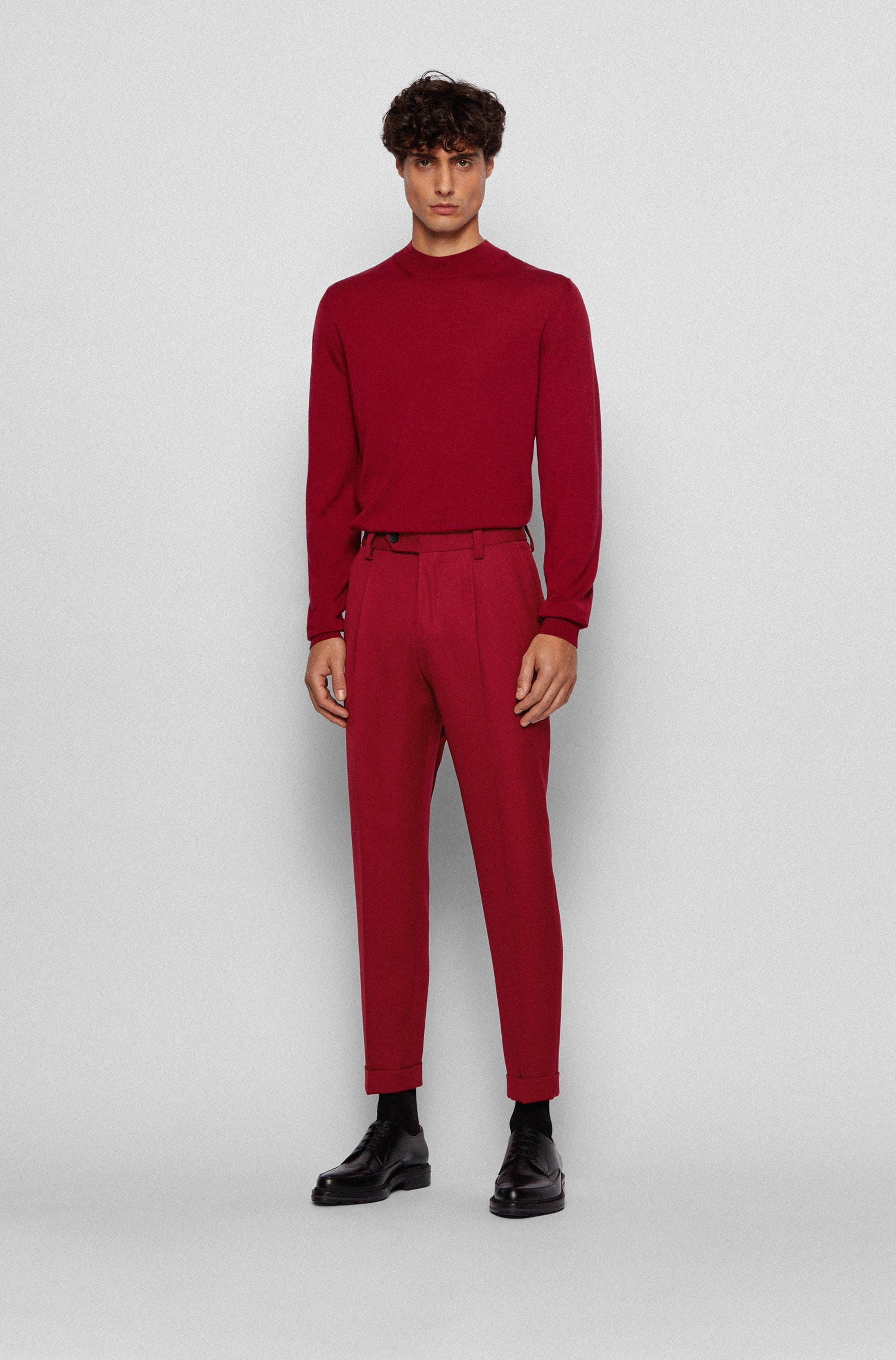 Oversized-fit cuffed trousers with virgin wool