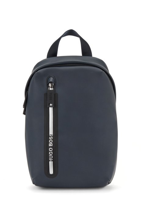 Faux-leather backpack with single strap and branded puller, Dark Blue