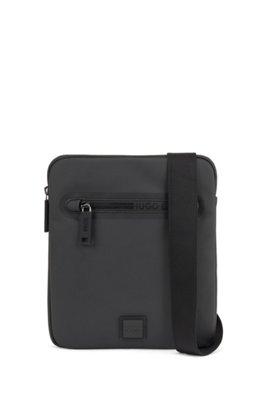 Envelope bag in matte fabric with logo zipper, Black