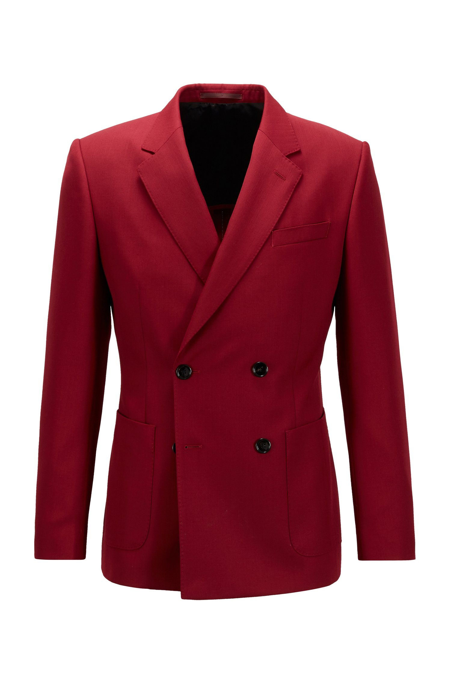 Oversized-fit double-breasted jacket with virgin wool, Dark Red