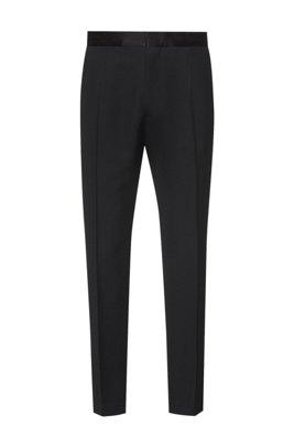Pantalones formales de corte recto con ribetes de seda, Negro