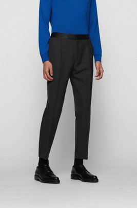 Straight-fit formal trousers with silk trims, Black