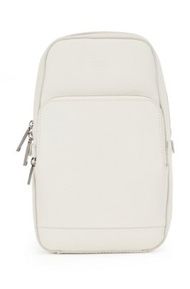 Single-strap backpack in grained Italian leather, Light Beige
