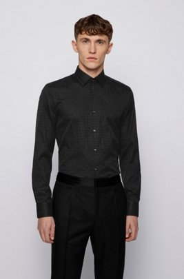Slim-fit shirt in Italian cotton with jacquard monograms, Black