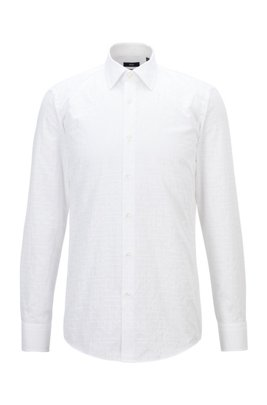 Slim-fit shirt in Italian cotton with jacquard monograms, White