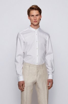 Easy-iron slim-fit shirt with stand collar, White