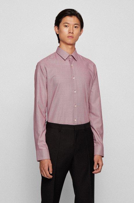 Regular-fit overhemd van katoen met aloë vera-finish en dessin, Rood