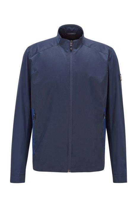 Regular-fit water-repellent jacket with logo artwork, Dark Blue