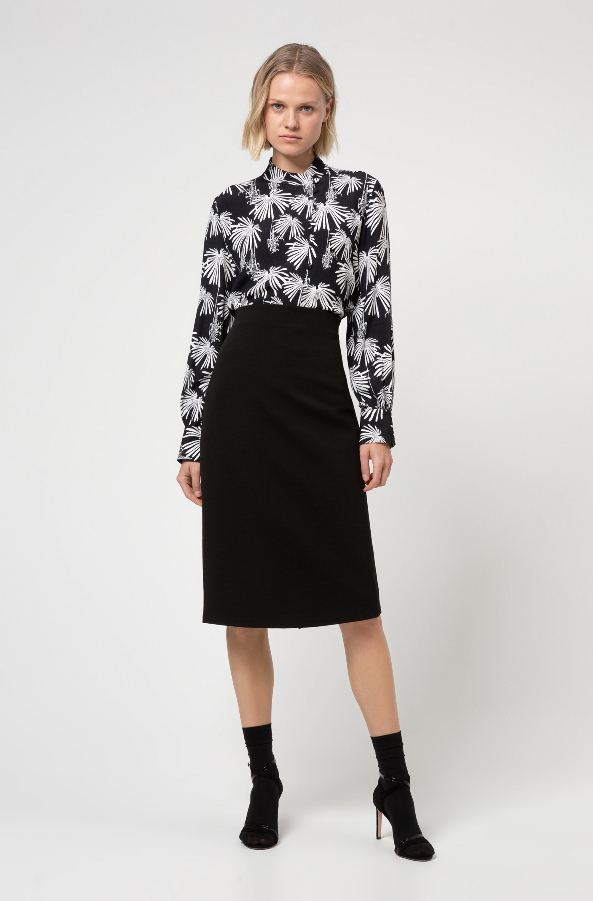 Midi-length tube skirt in stretch jersey