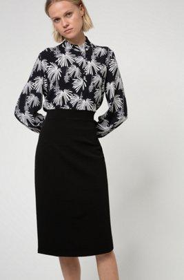 Midi-length tube skirt in stretch jersey, Black