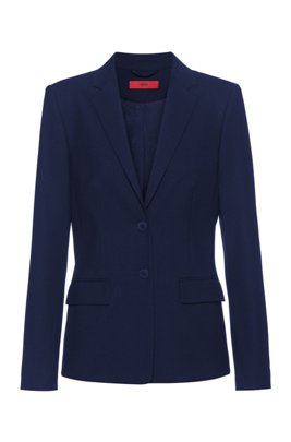 Regular-fit jacket in a textured virgin-wool blend, Light Blue