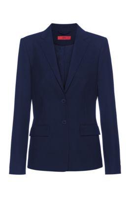 Regular-fit jacket in a textured virgin-wool blend, Light Blue