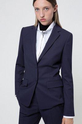 Veste Regular Fit en laine vierge mélangée texturée, bleu clair