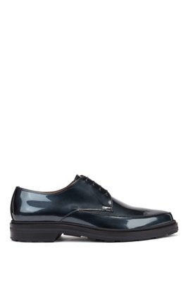 Modernos zapatos Derby de piel con acabado metalizado, Gris oscuro
