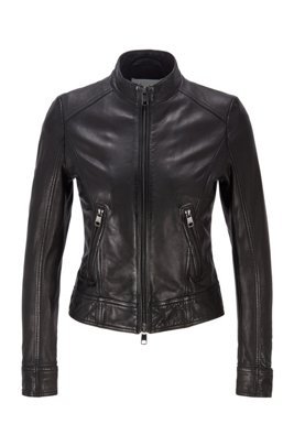 Regular-fit jacket in nappa leather with zip details, Black