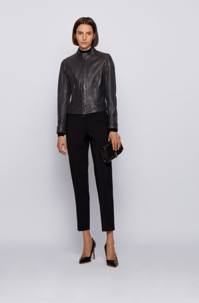 Regular-fit jacket in nappa leather with zip details