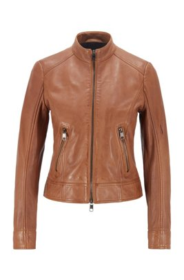 Regular-fit jacket in nappa leather with zip details, Light Brown