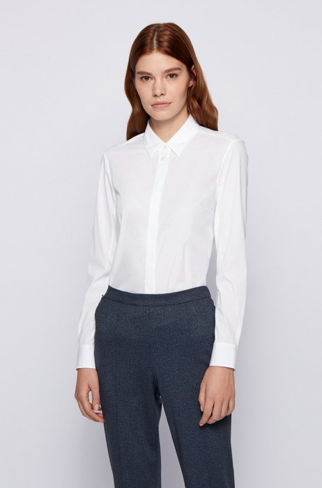 Slim-fit blouse in stretch fabric with jersey back, White