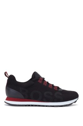 Lace-up trainers with knitted uppers and logo, Black