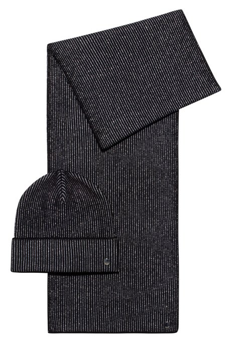 Knitted scarf and hat set with metallic yarn, Black