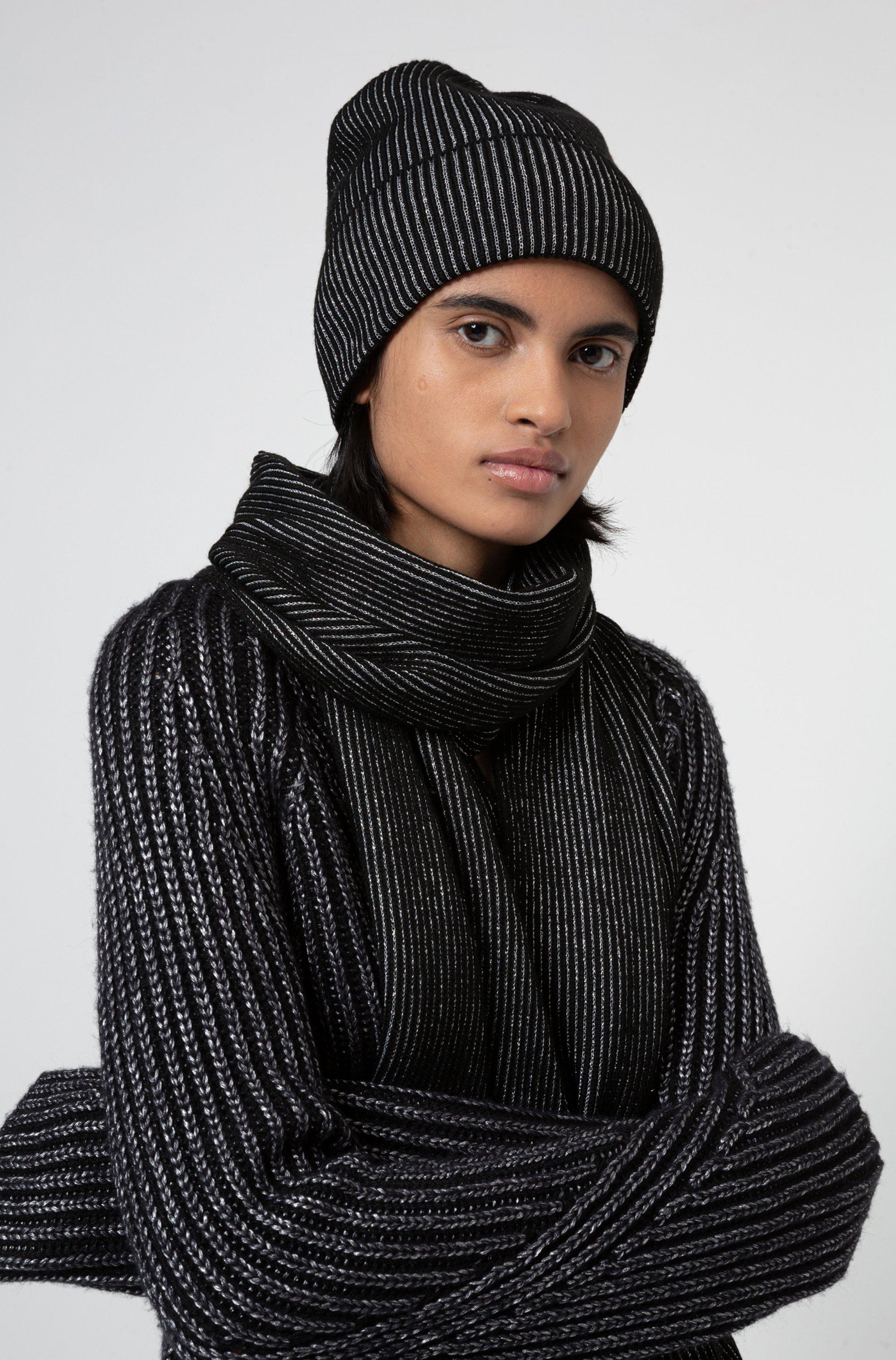 Ensemble écharpe et bonnet en maille avec fil métallisé
